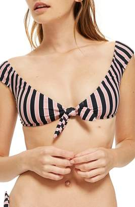Topshop Stripe Tie Front Bikini Top