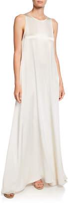 Deveaux New York Jewel-Neck Sleeveless Long Satin Gown