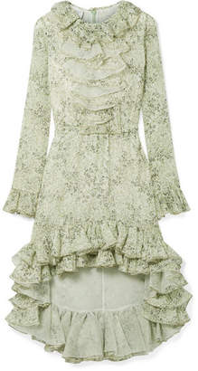 Giambattista Valli Asymmetric Ruffled Printed Silk-georgette Dress