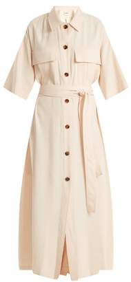 Leilani Khaite Tie Waist Button Down Crepe Dress - Womens - Light Pink