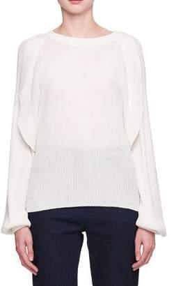 Chloé Crewneck Long-Sleeve Pleated Silk Cotton Sweater
