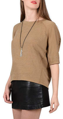 Molly Bracken Raglan-Sleeve Baseball Knit Top