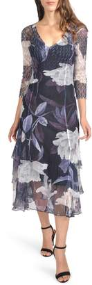 Komarov Floral Tiered Hem Dress
