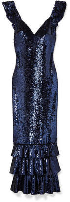 Monique Lhuillier Tiered Sequined Mesh Gown - Navy