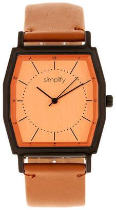 Simplify Quartz The 5400 Orange Dial, Genuine Camel Leather Watch 40mm
