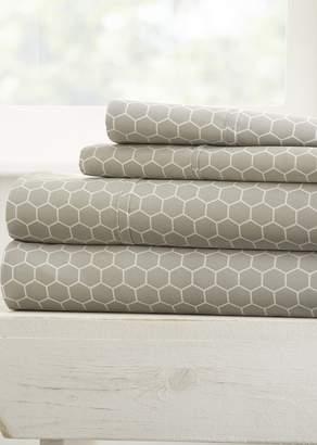 IENJOY HOME Home Spun Ultra Soft Honeycomb Pattern 4-Piece Full Bed Sheet Set - Gray