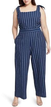Rachel Roy Stripe Linen & Cotton Jumpsuit