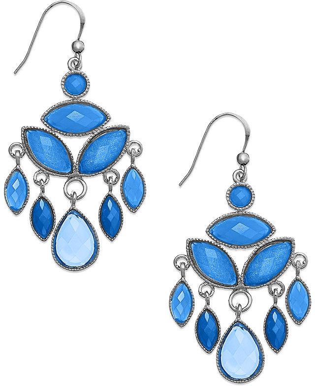 Style&Co. Earrings, Silver-Tone Blue Bead Chandelier Earrings