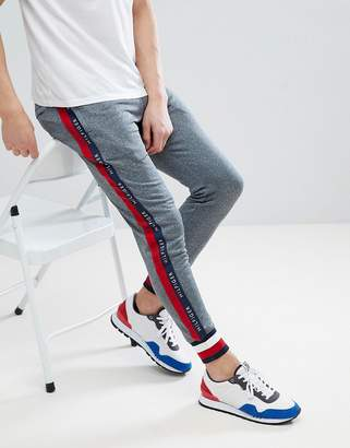 Tommy Hilfiger Sports Capsule Cuffed Joggers Icon Stripe Trim & Side Logo Taping in Gray Marl