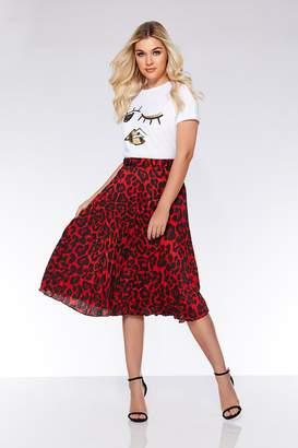Quiz Red And Black Leopard Print Midi Skirt