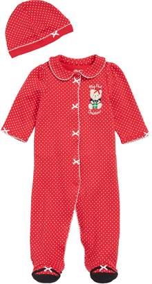 Little Me Holiday Bear Footie & Hat Set