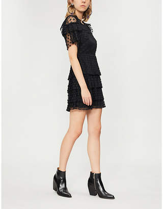 Sandro Floral-lace tiered dress