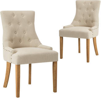 Webster Temple & Set of 2 Beige Windsor Scoop Back Dining Chair