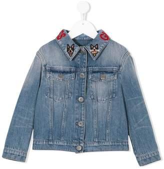 Gucci Kids embroidered-collar denim jacket