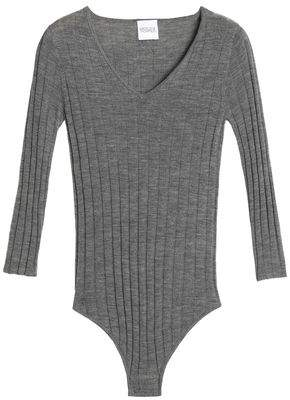 Madeleine Thompson Mélange Ribbed Wool And Cashmere-Blend Bodysuit