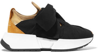 MM6 MAISON MARGIELA Suede-trimmed Stretch-knit And Canvas Sneakers - Gold
