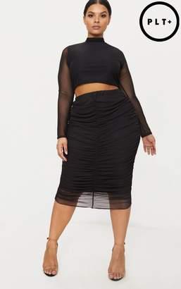 PrettyLittleThing Plus Black Mesh Ruched Midi Skirt
