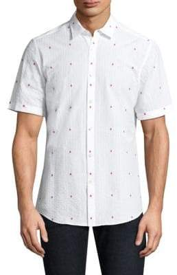 Salvatore Ferragamo Embroidered Gancini Logo Button-Down Shirt