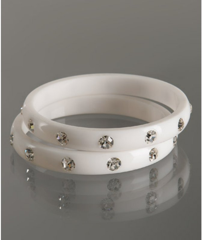 Chamak by Priya Kakkar set of 2 - white resin crystal studded bangles