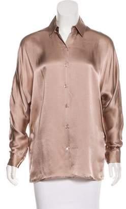 Vince Oversize Silk Button-Up