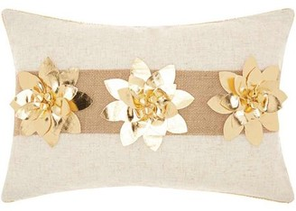"""Nourison Home For The Holiday Three Poinsettia Decorative Throw Pillow, 12"""" x 18"""", Gold"""