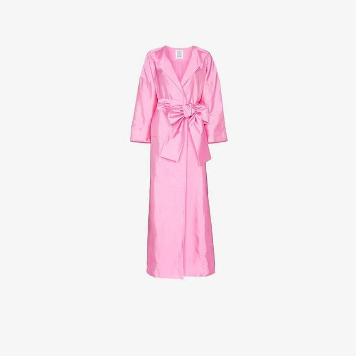 oversized sash silk coat