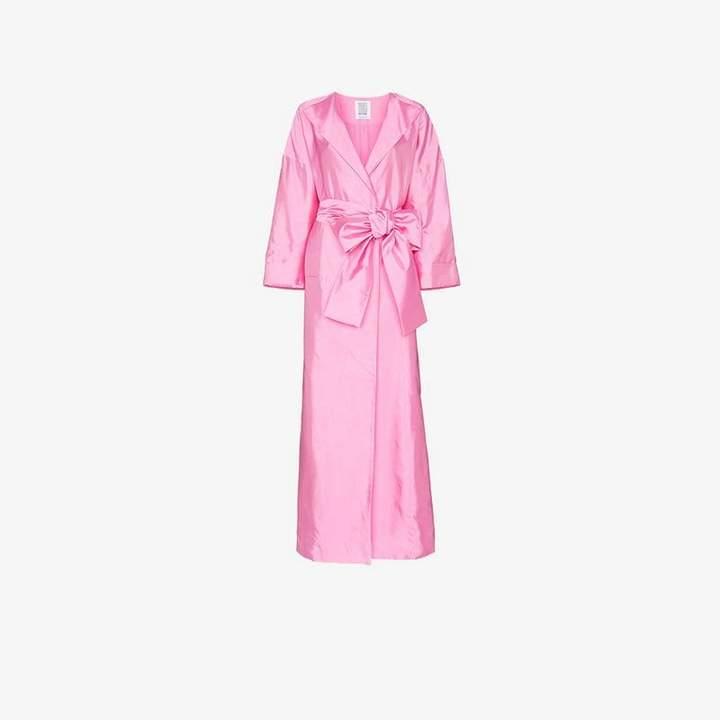 oversized sash silk coat