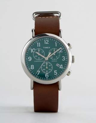 Timex Weekender Chornograph Oversized Leather Watch In Brown