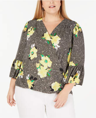 INC International Concepts I.n.c. Plus Size Floral-Print Gingham Surplice Top