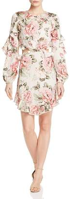 Divine Heritage Ruffled Floral Cutout Dress