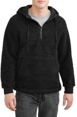 Climate Concepts Men's 1/4 Zip Hooded Sherpa Fleece Pull Over, Up To Size 5Xl