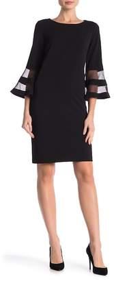 Sandra Darren Mesh Panel 3\u002F4 Sleeve Dress