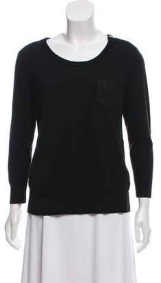 The Kooples Leather-Trimmed Merino Wool Sweater