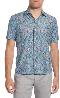 Culturata Trim Fit Floral Print Cotton & Silk Sport Shirt