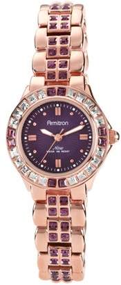 Swarovski Armitron Women's Amethyst-Colored Crystal Accent Rose Gold-Tone Watch