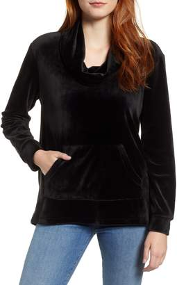 Caslon Off Duty Cowl Neck Velour Pullover