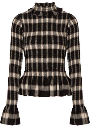 MM6 MAISON MARGIELA Smocked Checked Jersey Turtleneck Top - Black