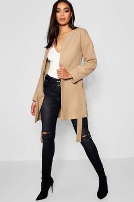 boohoo Collarless Belted Wool Look Coat
