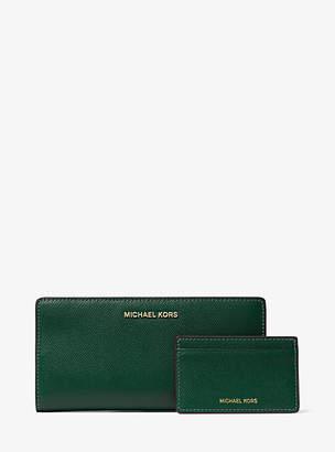 12ac8fc96e5b Michael Kors Large Saffiano Leather Slim Wallet
