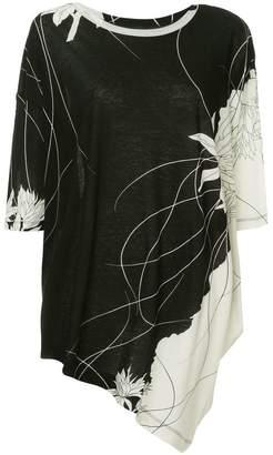 Y's printed asymmetric blouse