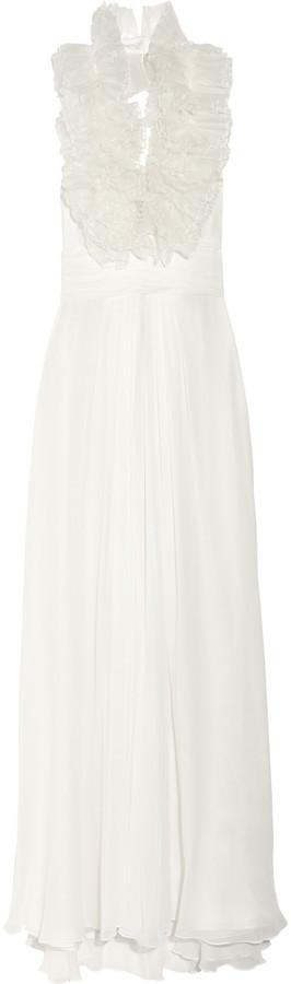 Notte by Marchesa Ruffled silk-organza and silk-chiffon gown