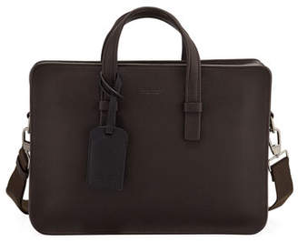 Giorgio Armani Men's Tumbled Calf Leather Briefcase, Brown