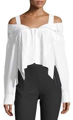 Jason Wu GREY Deconstructed Off-the-Shoulder Cotton Poplin Blouse