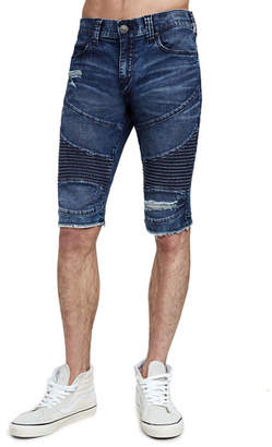 True Religion Men's Geno Moto Slim Denim Shorts