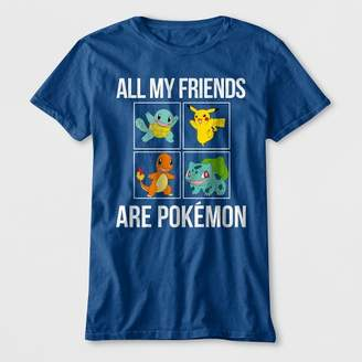 Pokemon Boys' All My Friends Are Short Sleeve Graphic T-Shirt - Blue