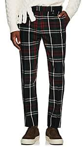 Undercover Men's Plaid Wool Skinny Trousers-Green