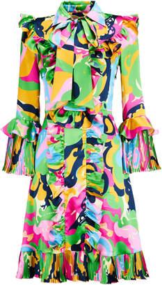 La DoubleJ Fancy Ruffled Silk Mini Dress