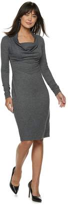 JLO by Jennifer Lopez Women's Cowlneck French Terry Sheath Dress