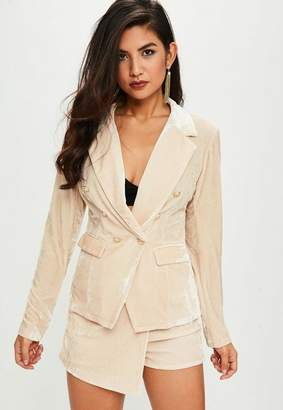 Missguided Nude Velvet Military Jacket