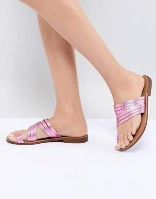 Pieces Metallic Leather Multi Strap Flat Sandal